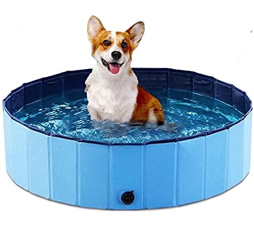 MONODEAL - Piscina per cani, pieghevole, più robusta, piscina per bambini, per giardino, cortile o bagno M, 80 x 20 cm, colore: Blu