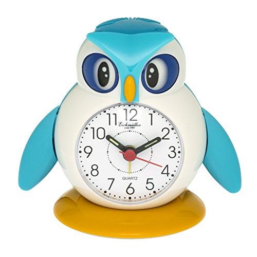 Eichmüller Kinderwecker Eule blau Analogwecker mit Alarm Snooze und Licht