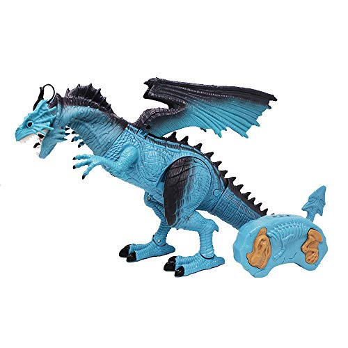 Remote Control Dinosaur Dragon Robot Toy Fire Breathing Smoke Electronic Lights Sounds Eyes Wings Walking Action T-Rex Robots Dinosaurs Jurassic Dino Dragons Kids Toys Gifts Age 3+ Year Old Boys, Blue