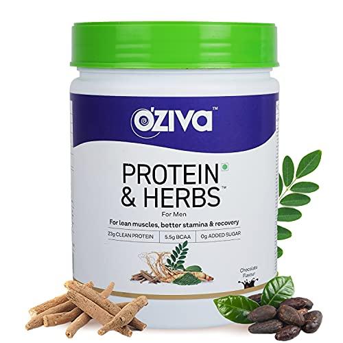 OZiva Protein & Herbs, Men (23g Whey Protein, 5.5g BCAA & Ayurvedic herbs like Ashwagandha, Chlorella & Musli) for Better Stamina & Lean Muscles, Chocolate, 500g
