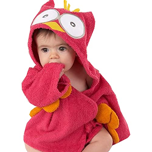 Smilsiny - Albornoz para bebé niña y niño, con capucha, para baño o ropa de noche de 0 a 6 años
