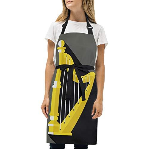 FAJRO Küchenschürze Harfe Instrument zum Kochen, Backen, Basteln, Gartenarbeit und Grillen