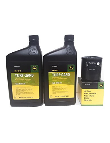 J0HN DEERE 2 Quarts Turf-Gard SAE 10W-30 Oil Plus AM107423 Filter. Fits Many Lawn Mowers - Check Description