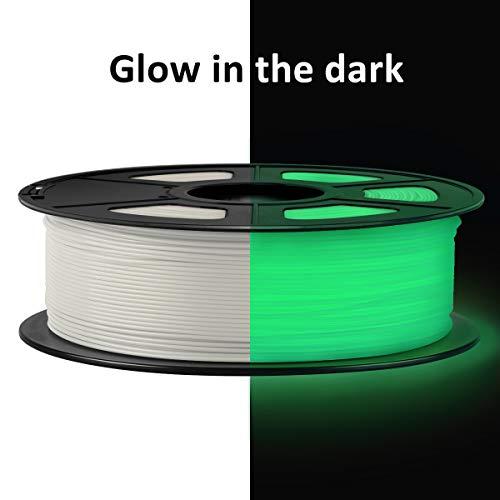 SUNLU Filamento PLA 1.75 mm 1KG Blanco, PLA luminoso, Verde brilla en la oscuridad, Filamento de Impresora 3D