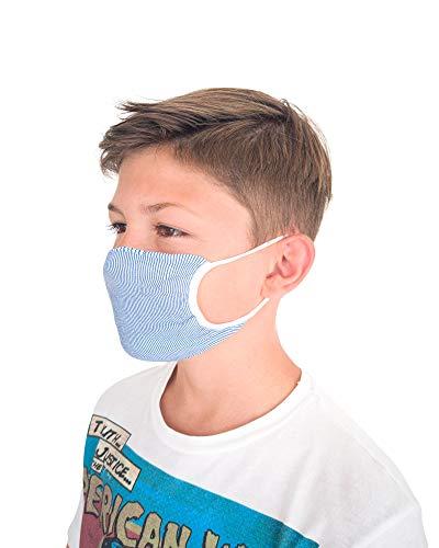 Relaxsan - 3er Set [Blau/Weiss] Bänder fürs Gesicht, Mund, Nase Junge 6-12 Jahre aus wiederverwendbarem waschbarem bakteriostatischem Gewebe