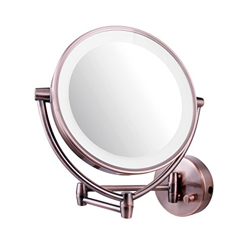 Ovente Wall Mounted Makeup Mirror 9.5 Inch with 10X Magnification and LED Ring Lights, Energy Saving with Auto Shutoff Timer, Double-Sided with 360 Degree Swivel Design, Antique Brass (MLW45AB1X10X)