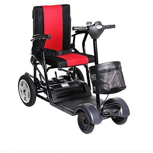 WYJW Rollstuhl Leichtes Zusammenklappen Elektrisch, Kippschutz Rückenlehne verstellbar, 23 km, 24 V Blei-Säure-Batterie mit Aufbewahrungsbeutel Roller