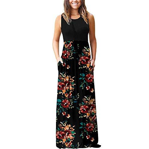 NOBRAND Vestido de mujer estampado grande en verano 2020 con bolsillo en contraste elástico en la cintura
