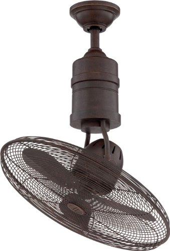 """Craftmade BW321AG3 Bellows III Dual Mount 21"""" Outdoor Reversible Oscillating Ceiling Fan with Wall & Remote Control, 3 Blades with Safety Cage, Aged Bronze Textured"""