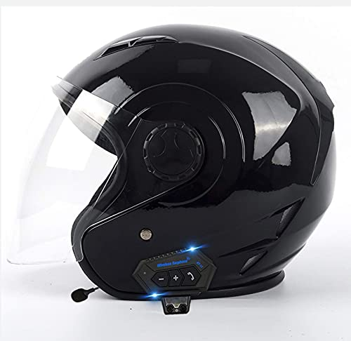 HYRGLIZI Cascos de Motocicleta Bluetooth Casco de Moto Jet Aprobado por Dot Motocicleta 3/4 Medio Casco de Cara Abierta, con micrófono para Respuesta automática 4, L = (59~60CM)
