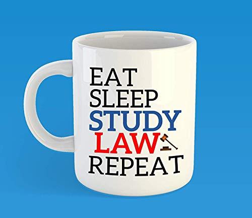 N\A Dason Eat Sleep Study Law Repetir Taza de café Facultad de Derecho Regalo de Estudiante Abogado Futuro Abogado Bar Examen Regalos Regalo de graduación Navidad Cumpleaños Mot 826803
