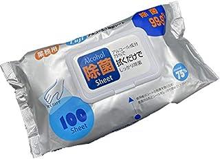 【ケース販売】75%アルコール配合 フジ アルコール入 除菌シート ポップアップ式 100枚入×24袋セット アルコールシート 除菌 ふきん まとめ買い ケース購入 業務用