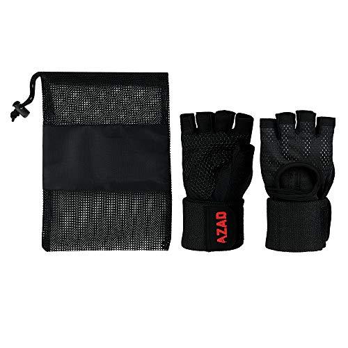 Azad Fitness Handschuhe Trainingshandschuhe Sporthandschuhe mit Handgelenkstütze für Radsport, Krafttraining und Bodybuilding wie Hanteln, Klimmzüge, Gewichtheben usw. (Schwarz, S)