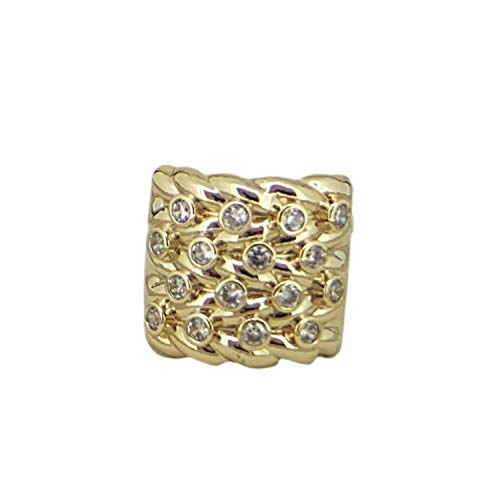 THE BLING KING Gold Adjustable Keeper Ring with Stones Men Big Chunky Heavy Real Gold Plating