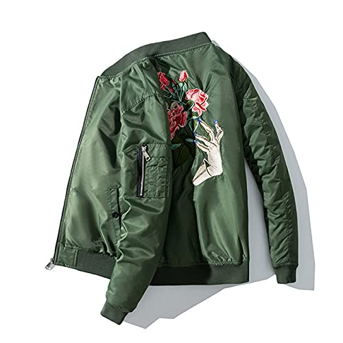 Floral Embroidery Bomber Jacket Men Spring Warm Thick Airplane Coat Hip Hop Streetwear Windbreaker Thin Green S (45-57kg)