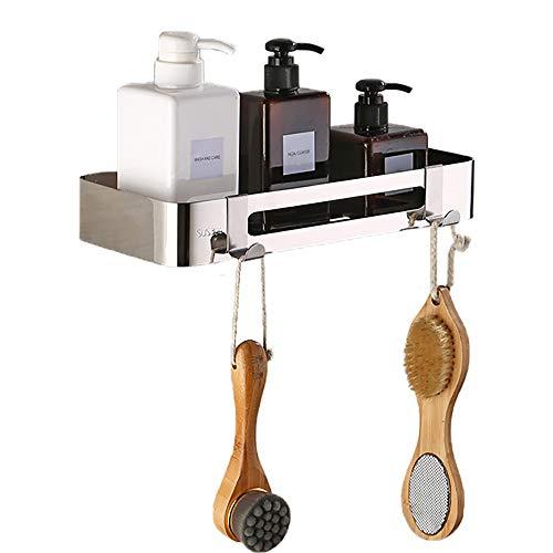 Badezimmer-Dusch-Eckregal, SUS 304 Edelstahl, langlebig, Dusch-Eckständer, Wandmontage, Eckregal mit Haken zum Aufhängen für Bad und Küche (rechteckig)