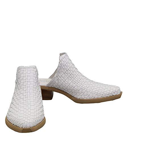 Felmini - Zapatos para Mujer - Enamorarse com EL Paso C237 - Zuecos con Tacones - Cuero Genuino - Blanco - 38 EU Size
