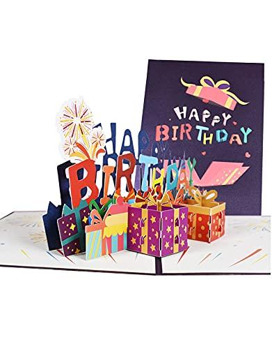 Biglietti Augurali Compleanno, 3D Popup Biglietto di Auguri Happy Birthday di Compleanno, Biglietto...