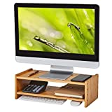 HUVIBE Monitor Stand, 2 Tiers Bamboo Monitor Riser with Adjustable Height, Computer Stand for Laptop,PC,Cellphone & Keyboard, Versatile as Printer Stand, Desktop Organizer -Burlywood