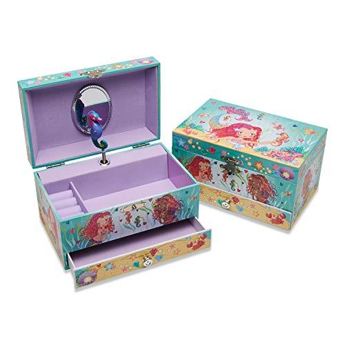 Lucy Locket – Meerjungfrau Kinder Schmuckkästchen mit Spieluhr – Glitzerndes Kinder Schmuckkästchen mit Ringfächern – Schmuckdose für Kinder