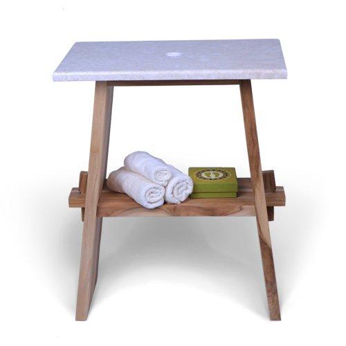 wohnfreuden Teakholz Waschtisch-Unterschrank mit Mamor Platte 60x40x74 cm Creme für Bad Gäste WC