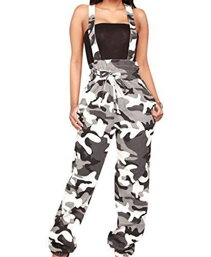 YOJDTD Bibs vrouwen Bibs Casual Bibs Camouflage Bibs riem Jumpsuits, Zwart, S