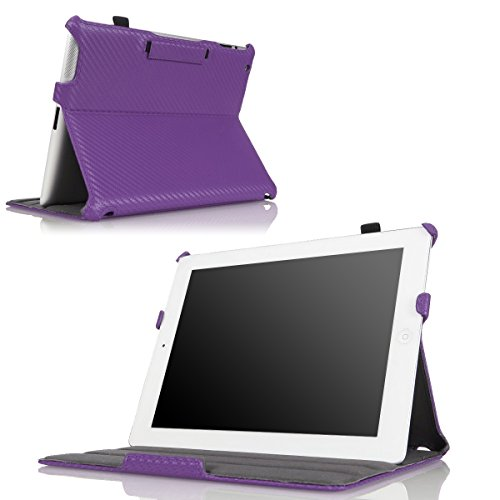 MoKo Case Fit iPad 2/3 / 4 - Slim-Fit Folio Stand Cover Case Fit Apple New iPad 4 & 3 (3rd & 4th Generation with Retina Display) / iPad 2, Carbon Fiber Purple