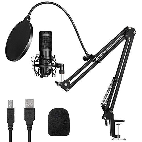 Micrófono de Condensador, Yakomon USB Micrófono Grabación, 192Khz/24 Patrón Polar Cardioide para Grabar Música y Video Transmisión en Vivo Juegos Chat Soporte de Brazo