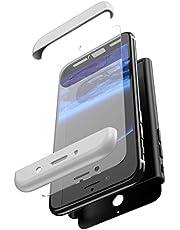 Uposao Funda Compatible con Huawei Mate 10 Lite Carcasa Funda Caso 360 Grados Full Body Completa Cover + Vidrio Templado,Ultra Delgado Doble Integral Funda PC Hard Caja Sólido Carcasa-Plata Negro