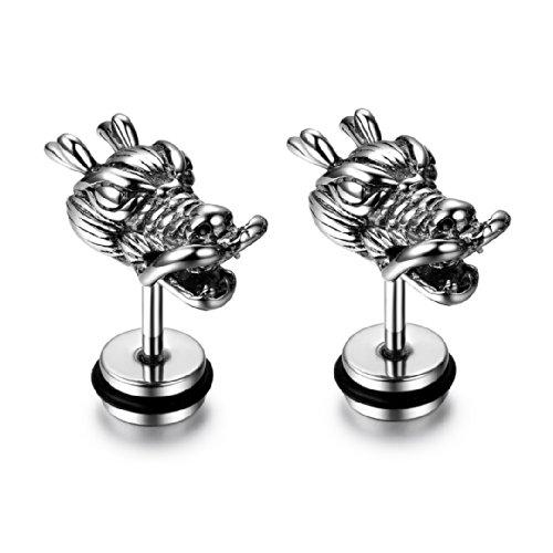 JewelryWe Schmuck Edelstahl Herren Ohrstecker, Herrschsüchtig Drachen Kopf, Ohrringe Ohrschmuck 6mm Breite Silber ein Paar
