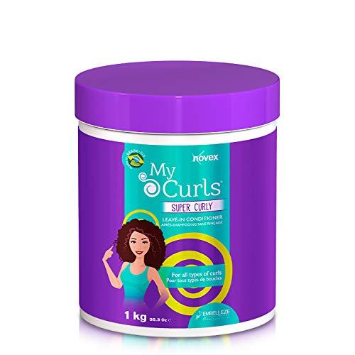 Novex - My Curls Super Curly Leave-In Conditioner - Balsamo per Capelli Ricci Senza Risciacquo - Con Mirtillo Rosso e 7 Oli Naturali, Oliva, Argan, Ojon, Monoi, Cocco, Shea e Moringa - Flacone 1 kg