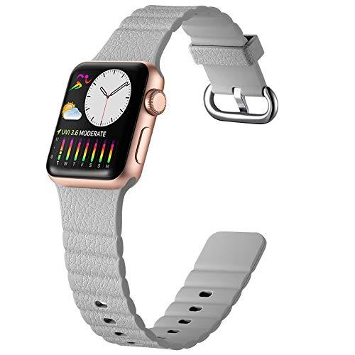 Oielai Silicone Cinturino Compatibile con Apple Watch Cinturini 40mm 44mm 38mm 42mm, Sportivi Ricambio Morbido Cinturino Compatibile per Apple Watch Series 6/5/SE/4/3/2/1, 42mm/44mm Grigio