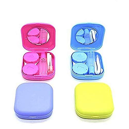 Confezione da 4 mini kit da viaggio per lenti a contatto con specchio, colore blu, viola, verde, rosa