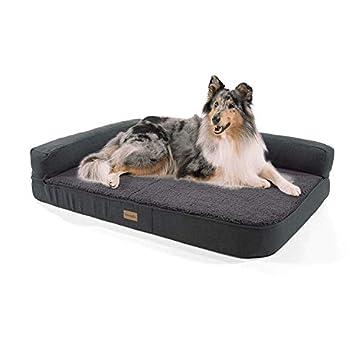 🐶 Orthopädisches Hundesofa: Das viskoelastische Hundekissen mit Memory-Schaum sorgt für eine optimale Druckverteilung und Entlastung der Wirbelsäule und Gelenke Ihres Hundes. ✨ Luxus Hundesofa mit Anti-Rutschmatte und Rückenlehne: Ein kuschliges und ...