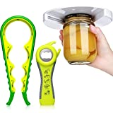 3 Pieces Jar Opener Under Cabinet Jar Opener 5 in 1 Multi Function Can Opener Set Bottle Opener Kit with Silicone Handle for Children Seniors with Arthritis Suffering and Weak Hands