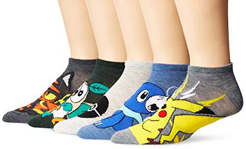Pokemon Men's Pokemon 5 Pack No Show Casual Sock, Socks, Assorted,, 10 13 US