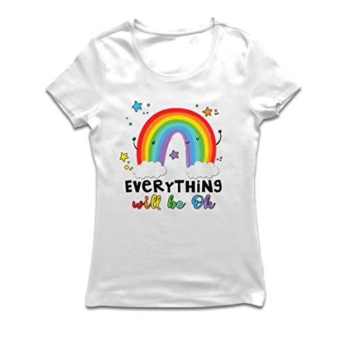 lepni.me Camiseta Mujer Todo Estará Bien Andrà Tutto Bene Arcoiris de la Esperanza (Small Blanco Multicolor)