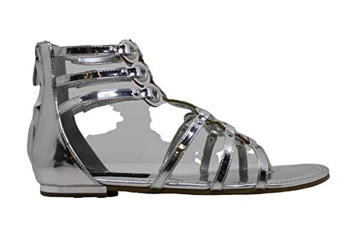 Donna Karan Womens Kara Open Toe Casual Gladiator Sandals Silver