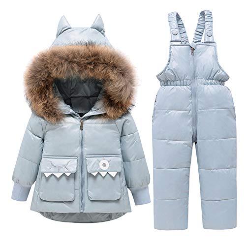 LPATTERN Baby/Kleinkind Jungen Mädchen 2 Teilig Bekleidungsset Winter Schneeanzug Winteranzug Skianzug Daunenanzug Outfit(Daunenjacke mit Fellkapuze+ Daunenhose/Latzhose), Hellblau, 116(Label:120)