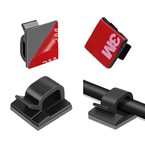 SLKIJDHFB 100 Abrazaderas Para Cables Negros Con Propiedades Autoadhesivas, Organizadores de Cables, Abrazaderas Adhesivas Para Cables Para El Hogar, La Oficina, Luces de Colores Y Automóviles.