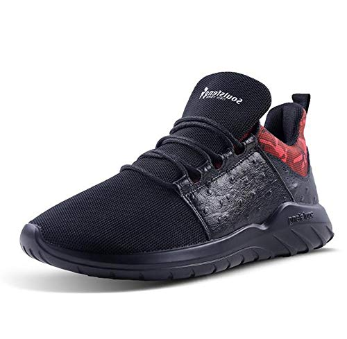 Soulsfeng - Zapatillas deportivas para correr para hombre, de malla transpirable y ligera, para entrenamiento, Multicolor (Negro/Rojo), 45 EU