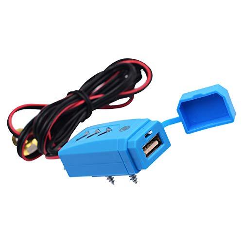 Yagosodee Cargador USB de Coche de Motocicleta Enchufe de Adaptador de Carga de Energía Impermeable con Interruptor Azul