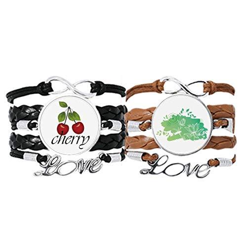 Bestchong Lotusblüte, Froschblätter, Pflanzenblumen-Armband, Handschlaufe, Lederseil, Kirschen-Liebesarmband, Doppelset