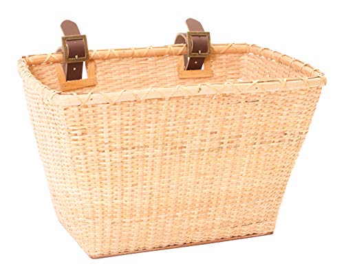 Retrospec Bicycles Cane Woven Rectangular Toto Basket with Authentic Leather Straps and Brass Buckles, Natural