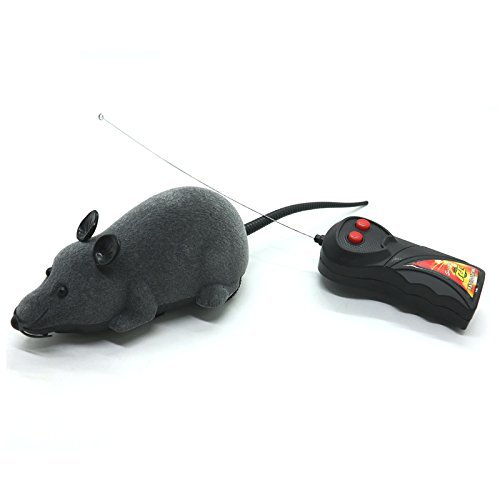 WEFOO Forum Novelties IDS Electronic Remote Control Rat, Simulation Mouse Toy for Cat Dog Kid, Gray