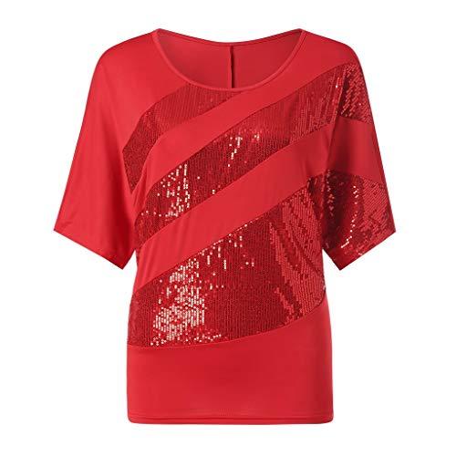 Zimuuy Zimuuy Damen Sommer Bluse, Frau Plus Größe Beiläufiges Pailletten Schulterbluse Kurzarm T Shirt Oberteile (L, rot)