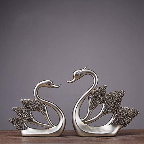 Brightz Resina de la artesanía Creativa al por Mayor Inicio Diamante de Rose Adornos Swan Hotel Marry Regalo Decorativo (36 * 20,5 * 4,5 cm) con Estilo y Hermoso