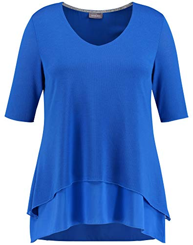 Samoon Damen Ausgestelltes Double-Layer-Shirt A-Linie, Ausgestellt Royal Blue 54