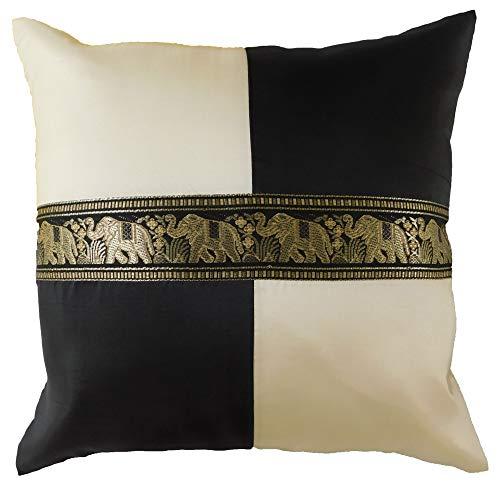 stickersquare Elefanten Karo schwarz Kissenbezug Kissenhülle Kissen 41,5 cm x 41,5 cm Thai Silk Sofa Couch