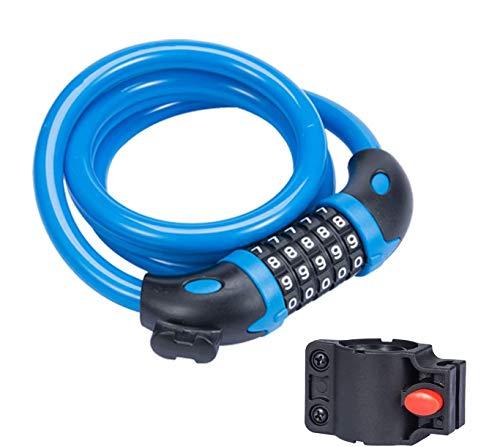 TuTuShop, lucchetto per bicicletta, con codice a 5 cifre, combinazione resettabile per bicicletta, moto, porta, passeggino, griglia, bagagli, Blu